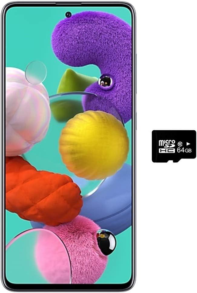 """Samsung Galaxy A51 (128GB, 4GB) 6.5"""", 48MP Quad Camera, Dual SIM GSM Unlocked A515F/DS- Global 4G LTE International Model (Black, 64GB SD + Case Bundle)"""