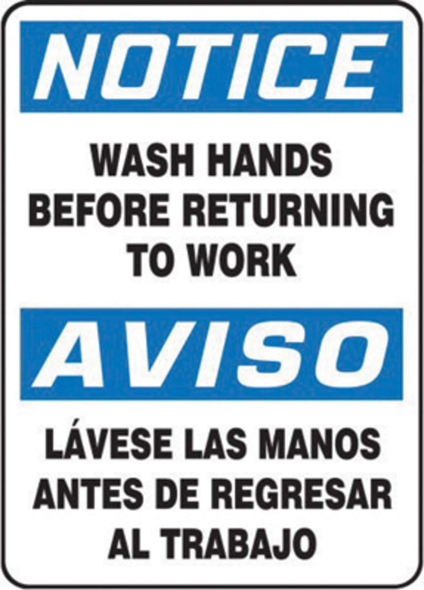 Accuform Signs 14'' X 10'' Black, Blue And White 0.055'' Plastic Spanish Bilingual Housekeeping And Hygiene Sign ''NOTICE WASH HANDS BEFORE RETURNING TO WORK'' With 3/16'' Mounting Hole And Round Corner