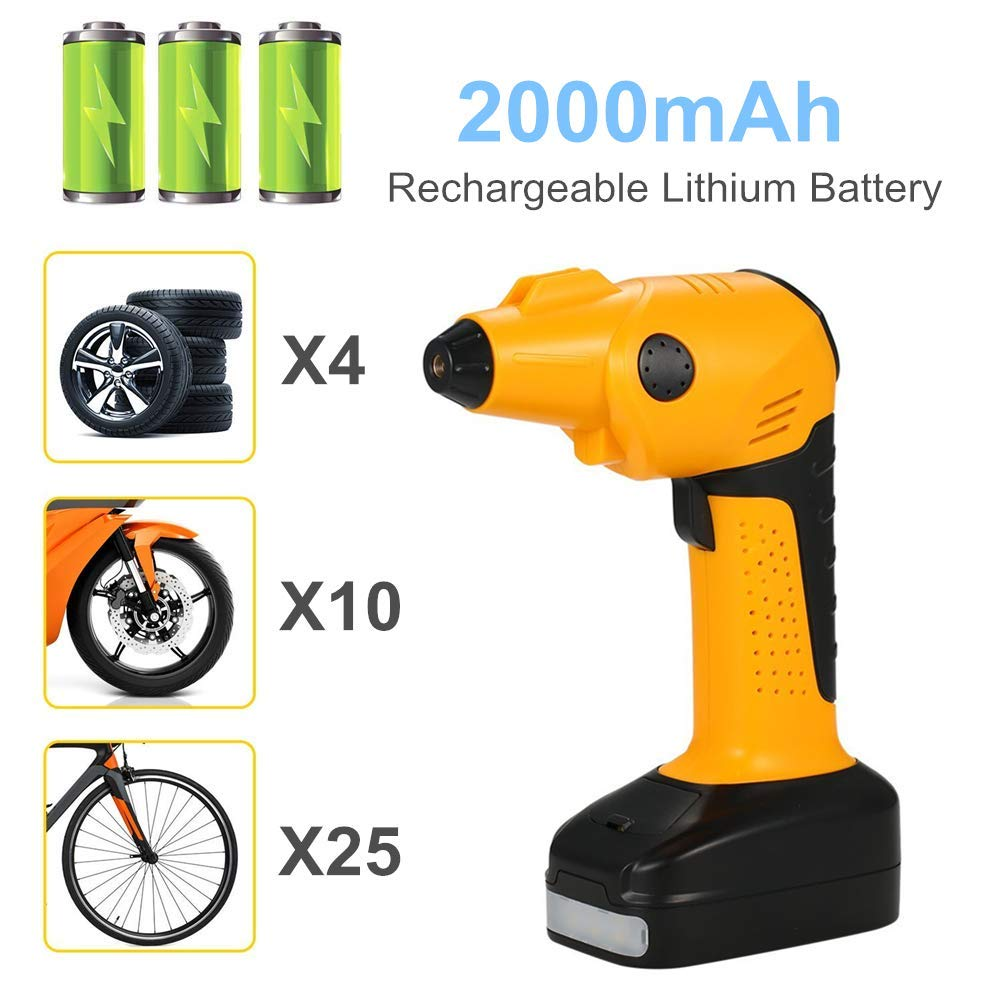 CARYWON Portable Air Compressor Pump Cordless Tire Inflator with Digital Display and LED Lights ,Built-in Power Bank Perfect for Car Bicycle Air Mattresses Airboat Airbed Basketballs by CARYWON (Image #4)