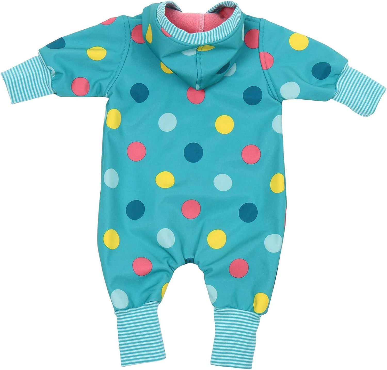 "Lilakind/"" Baby Overall Einteiler mit Kapuze Softshell T/ürkis Bunte Kreise Gr Made in Germany 56//62-116//122"