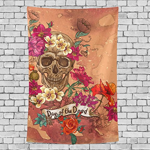 8' Wool Purse (Home Decor Sugar Skull Dia De Los Muertos Tapestries Hanging Bedroom Living Room Decorations Polyester Tapestry Wall Art 60X40 Inches)