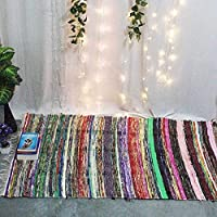 Fair Trade Handmade Rag Rug Chindi Rug Multi Colored Indian Mat Recycled Rug Boho Decorative Rug( 5ftx3ft ) (White)