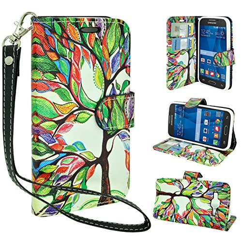 (Customerfirst - Flip Wallet Pouch, Slim Folio Case with Kickstand, 2 Credit Card Slot Wallet Pouch Leather Wallet Folio Case With Kickstand, Credit Card ID Slots, Currency Pocket, Hand Strap For Samsung Galaxy Prevail LTE / Core Prime G360P, Slim Folio with Kickstand - Free Flash Light With Key Chain (COLORFUL LEAVES))