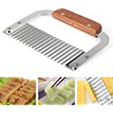 Hardwood Handle Crinkle Cutter Wax Vegetable Soap Wavy Cutter Stainless Steel Potato Chip Dough Carrot Crinkle Wavy Slicer