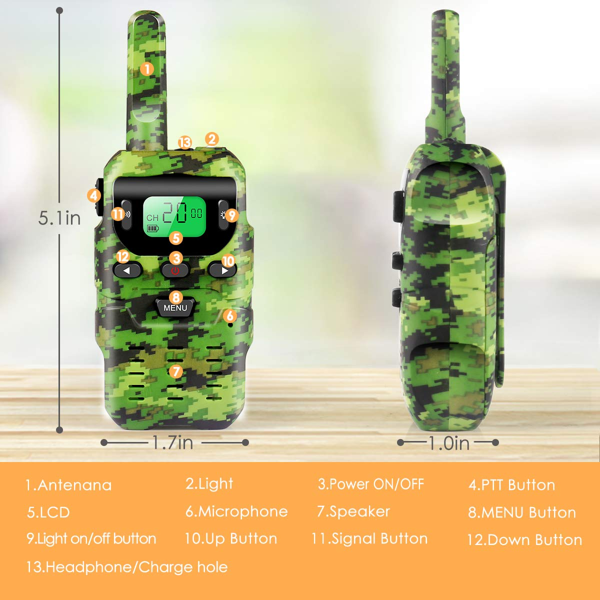 UOKOO Walkie Talkies for Kids, Toys for 3-12 Year Old Boys 22 Channel 3 Mile Long Range Kids Toys and Kids Walkie Talkies, and Top Toys for for 3 4 5 6 7 8 9 Year Old Boy and Girls by UOKOO (Image #2)