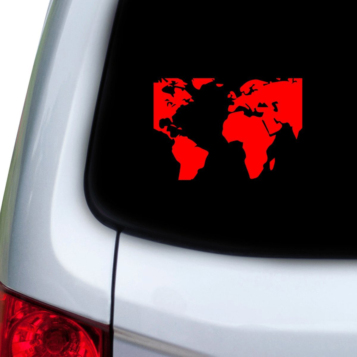 Red Doors StickAny Car and Auto Decal Series Cropped World Map Sticker for Windows Hoods