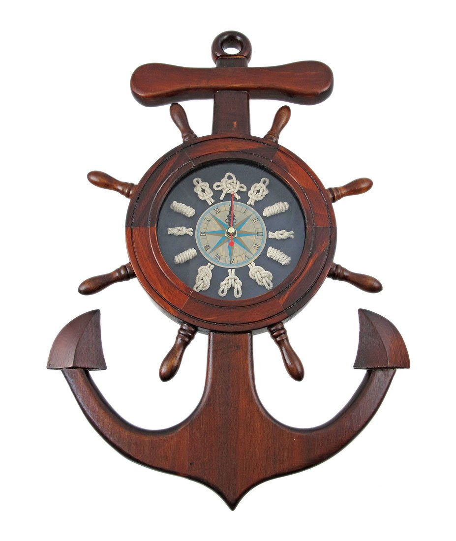 Amazon wooden ships wheel anchor sailors knot wall clock amazon wooden ships wheel anchor sailors knot wall clock home kitchen amipublicfo Images