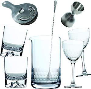 Amehla Cocktail Mixing Glass Bar Kit: 8 Piece Bar Set with Bar Tools and Glasses - Home Mixology Bartending Kit with 2 Mountain Whiskey and 2 Honeycomb Nick and Nora Drinking Glasses + Accessories