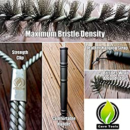 Barbecue Grill Brush with Heavy Duty Stainless Steel Wire Bristles Safe For Porcelain & Cast Iron Grates and Long Handle To Protect From BBQ Heat by Cave Tools