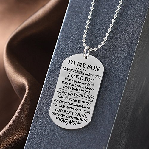 To My Son Just Do Your Best Love Mom Dog Tag Military Air Force Navy Coast Guard Necklace Ball Chain Gift for Best Son Birthday Graduation Stainless Steel by Stashix (Image #3)