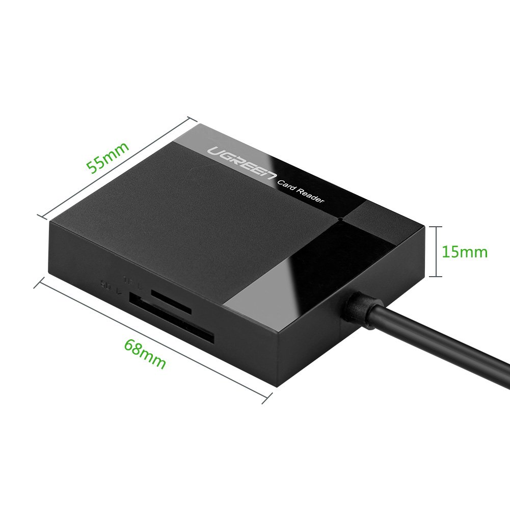 UGREEN SD Card Reader USB 3.0 CF Memory Card Adapter Hub 5Gbps Read 4 Cards Simultaneously for UHS-I CFI,TF,SDXC,SDHC,SD,Micro SD,Micro SDXC,Micro SDHC,MMC,MS,Compatible with MacBook,Windows 10,Linux