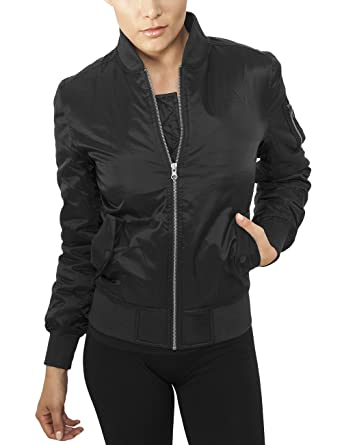 Urban Classic black Ladies Basic Bomber Jacket TB807 at Amazon ...