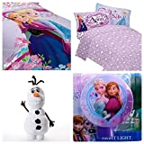 Disney Frozen Celebrate Love Reversible 6 Piece Twin Bed in a Bag - Reversible Comforter, 3 Piece Sheet Set, Olaf Plush Pillow, & Disney Frozen Night Light