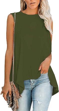 Aleumdr - Camiseta de tirantes para mujer, sin mangas, de verano, de algodón, elegante, informal, tallas S-XXL 1 verde L: Amazon.es: Ropa y accesorios