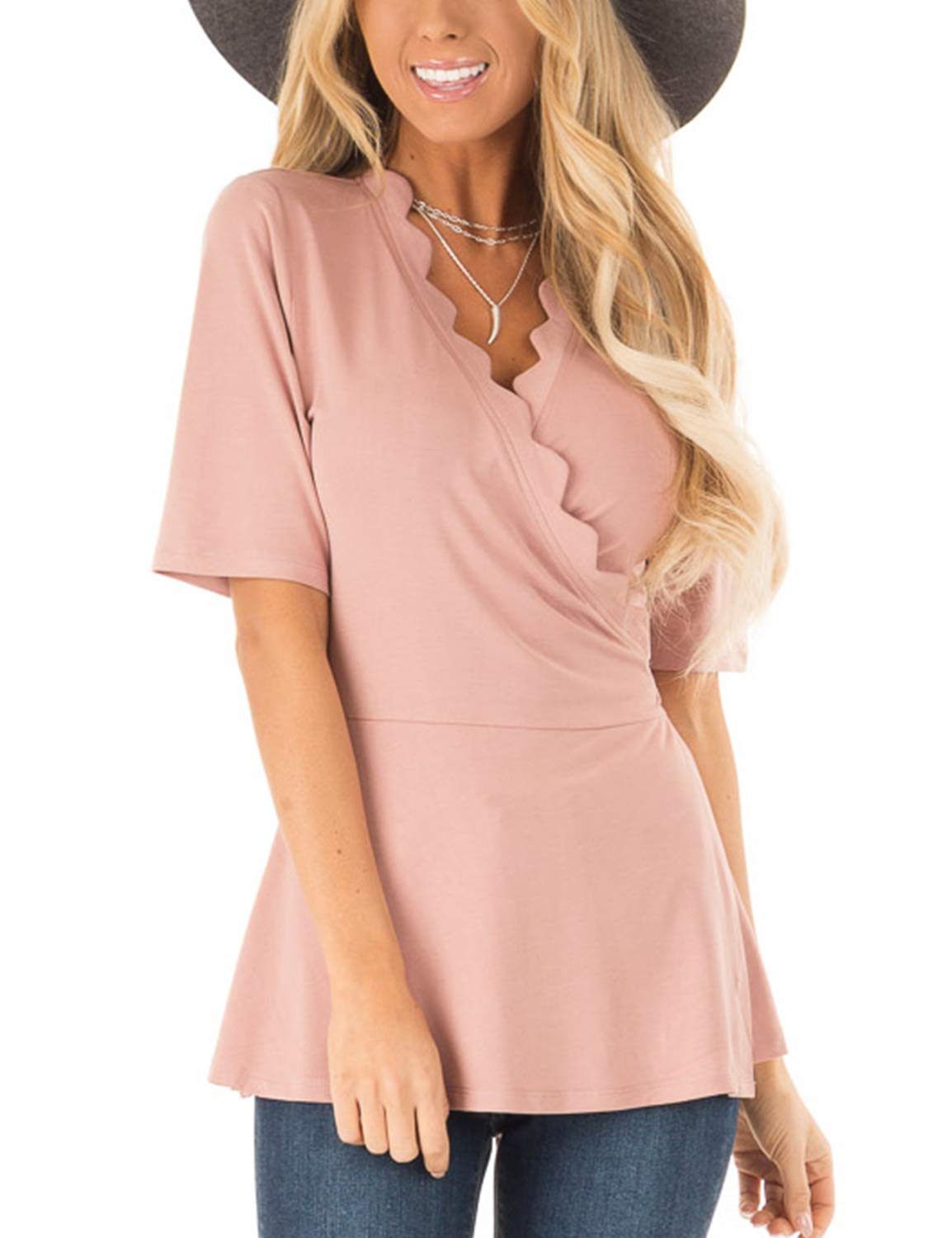 BMJL Women's V Neck T Shirt Short Sleeves Basic Wrap Shirt Sexy Casual Top Rippled Edge Tie M Pink