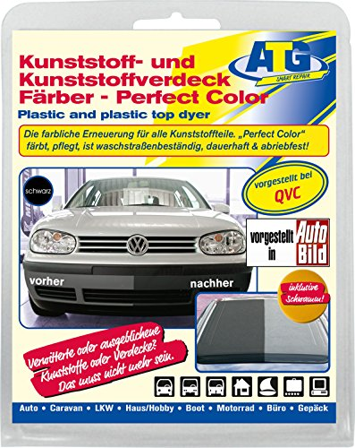 ATG plastic dyer Perfect-Color gives bumpers, moldings new life and brings the shine back - The plastic paint for any car & motorcycle - Black (For Leather Spray Paint Couch)