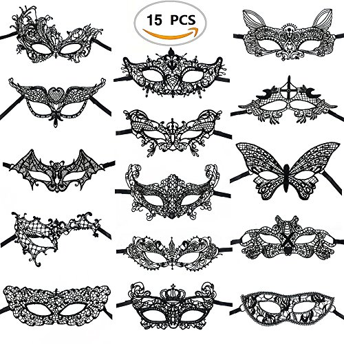 Black Cat Masquerade Mask (15PCS Black Lace Venetian Masquerade Mask Sexy Woman Mask for Halloween Costume Party Ball, Mardi Gras or Prom Dress by CSPRING)