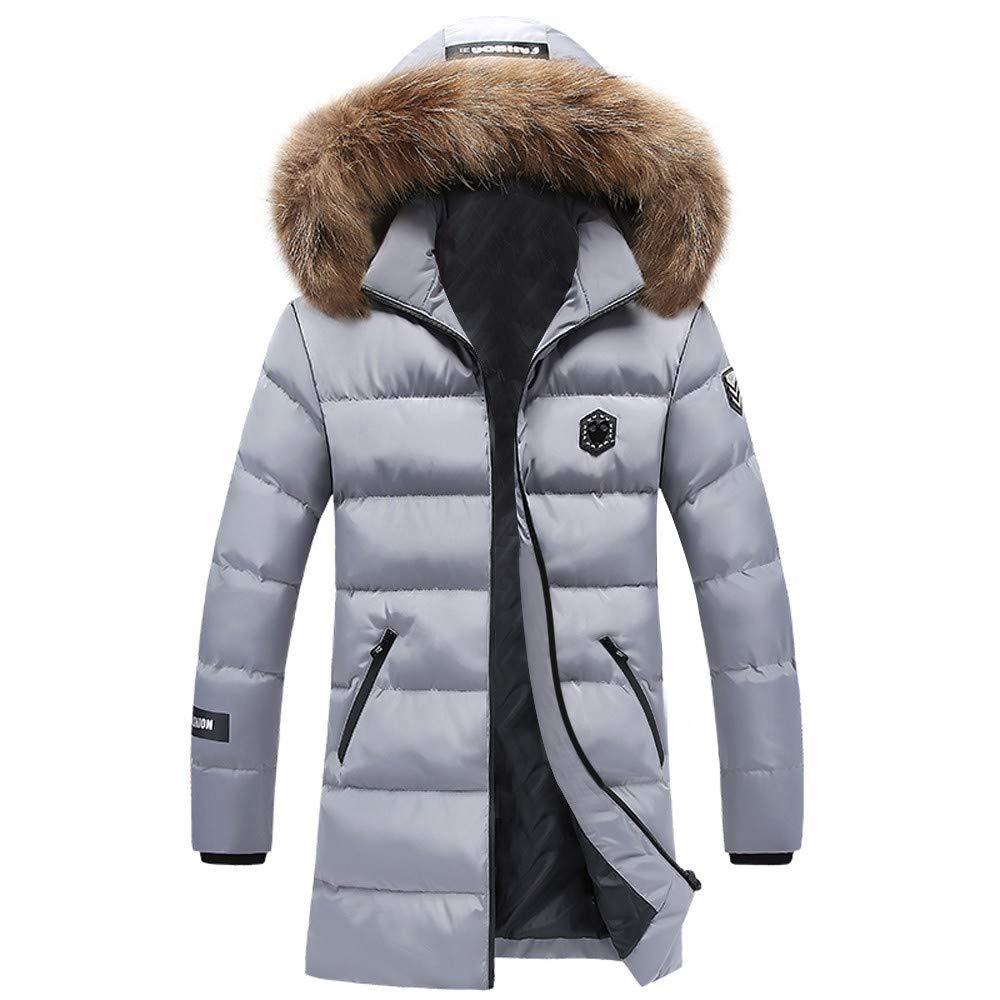 Mens Down Coats,Fashion Mid Down Jacket Faux Fur Hooded Puffer Coat Slim Fit Trend Coat Parka Zulmaliu (Gray,L)