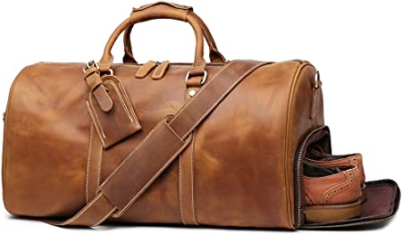 Leathfocus Retro Carry-on Leather Luggage