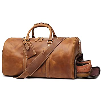 bcbd11c69c8 Amazon.com  LeatherFocus Leather Travel Luggage Bag