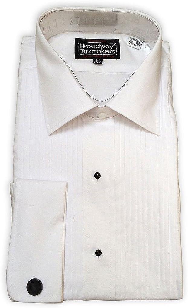 Broadway Tuxmakers Mens Slightly Irregular White Laydown Collar French Cuff Tuxedo Shirt