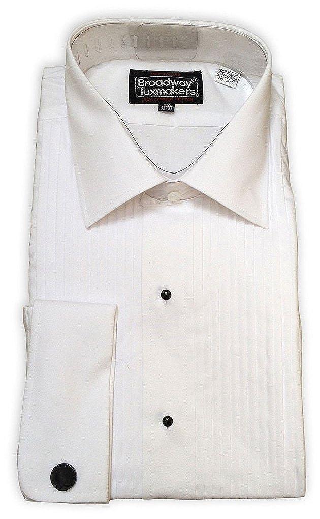 Broadway Tuxmakers Mens Slightly Irregular White Laydown Collar French Cuff Tuxedo Shirt diagonal LD