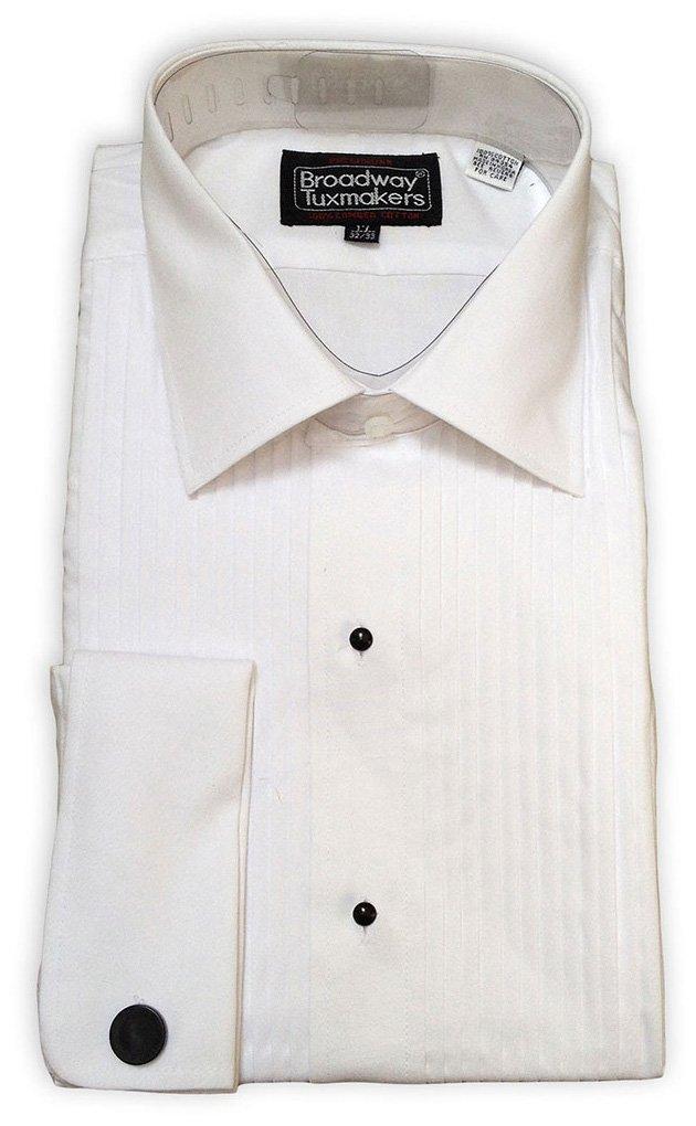 Mens Slightly Irregular White Laydown Collar French Cuff Tuxedo Shirt (Medium 32/33)