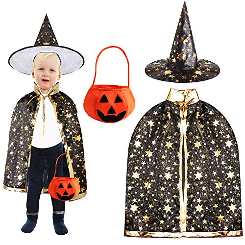 Outee Halloween Cloak Child Witch Wizard Custome Halloween Wizard Hat by, Black