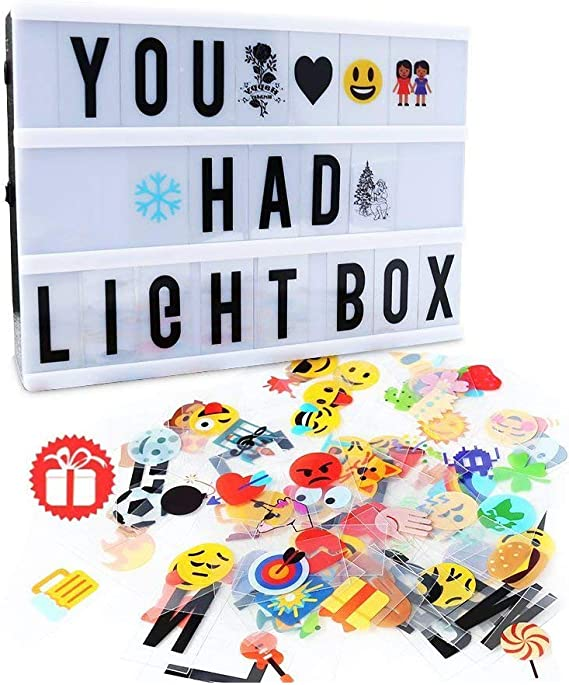NectaRoy Light Up Your Life 48Pcs Cinematic Light Box DIY Decorative Cinema Signs Letters Graphs Symbols Pack for A4 A5 Cinematic Light Up Boxes