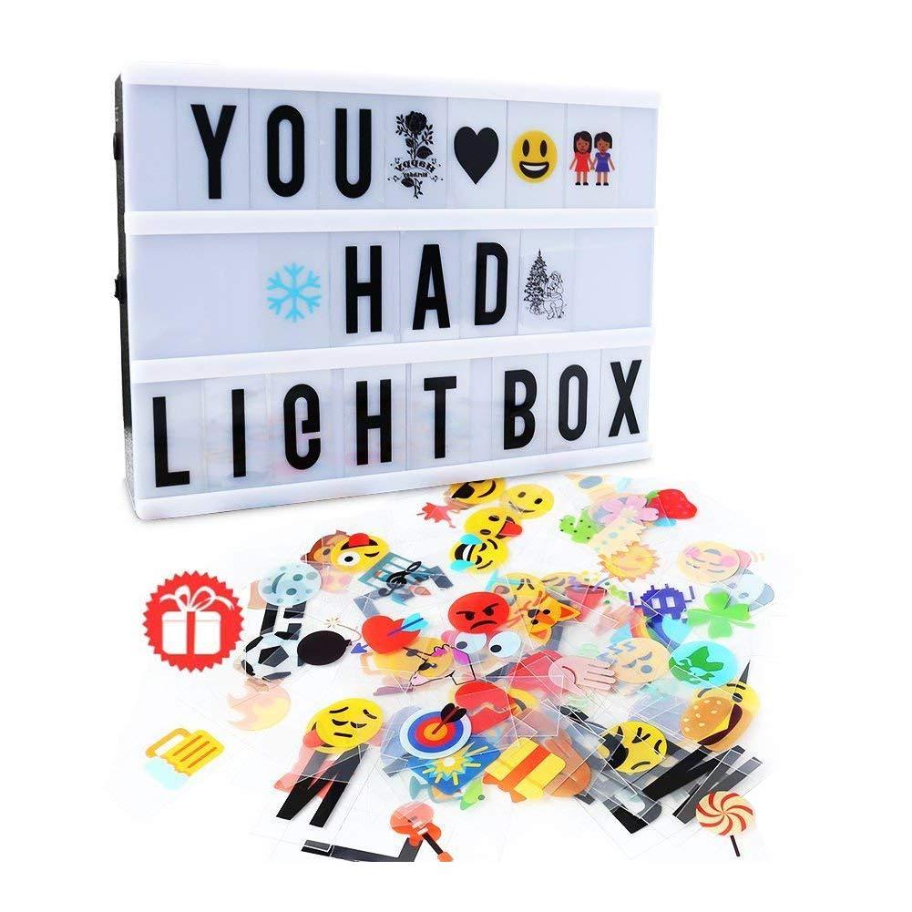 A4 Leichte Box DELICACY gestaltbar LED Kino Leichte Box  Leuchten Ihrem Leben  Filmischen Licht-Box  Lightbox mit 104 flexiblen Buchstaben und 85 bunte Symbole und emojis