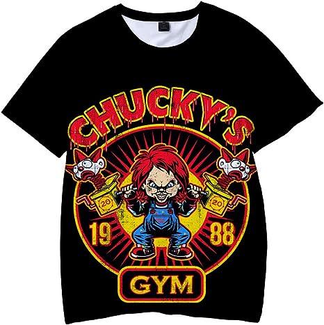 BSHDUFN Good Guys Chucky Camiseta Tramo Flojo Cuello Redondo Camiseta de la Camiseta del patrón del Color del Golpe de Costura Hombres y Mujeres Tops ...