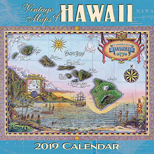 Hawaii 2019 Deluxe Wall Calendar - 2019 CALW - Vintage Maps of Hawaii by Pacifica Collection
