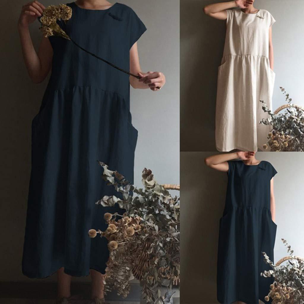Women's Cotton Linen Dresses Cap Sleeve Summer Maxi O Neck Dress with Pockets Navy by Jianekolaa_Dress (Image #6)