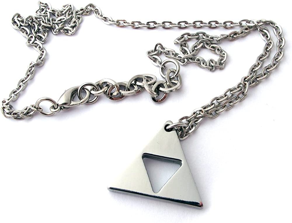 Amazon Com Milkool Zelda Triforce Necklace Stainless Steel Length 18 2 Other Products Jewelry