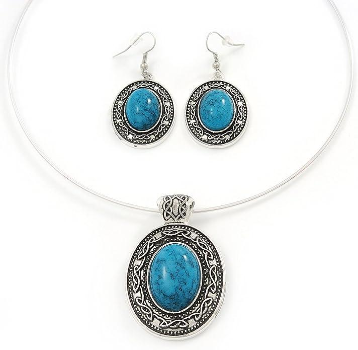 Ensemble boucles doreille et collier flex fil m/édaillon turquoise ovale en plaqu/é argent ajustable