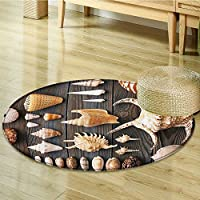 Seashells Decor Circle carpet By Nalahomeqq Seashell Background Flat Still Life Spiral Wooden Table Rural Rustic Country Style Beach Theme Room Accessories Extralong-Diameter 110cm(43)