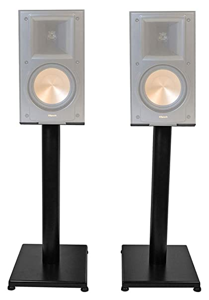 "Amazon com: Black 21"" Steel Bookshelf Speaker Stands For"