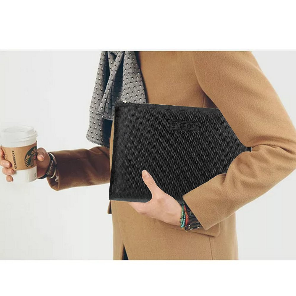 Fireproof Document Organizer Bag NON-ITCHY Silicone Coated Portable Safe Fire Water Dust Resistant Pouch Holder Case with Zipper for B5/A4 Size File Folder,Contract,Bills,Ipad,Smart Phone,Money,Jewelry,Passport Cards and More other Importan
