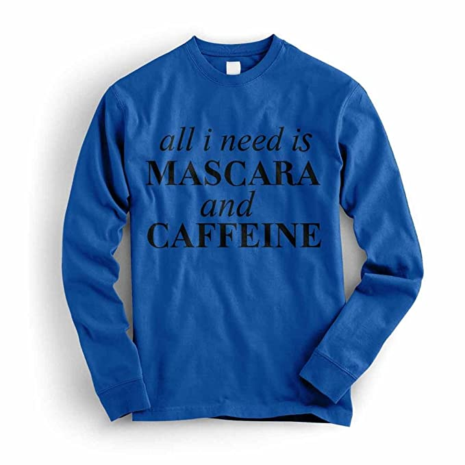 Inca Mascara and Caffiene Cool Funny Womens - Sweatshirt, White, Print Color-Black