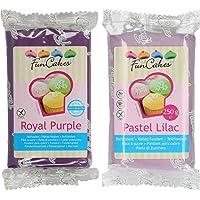 Funcakes - 2 X Paquetes de Fondant/Pasta de azucar de 250g (Purpura y