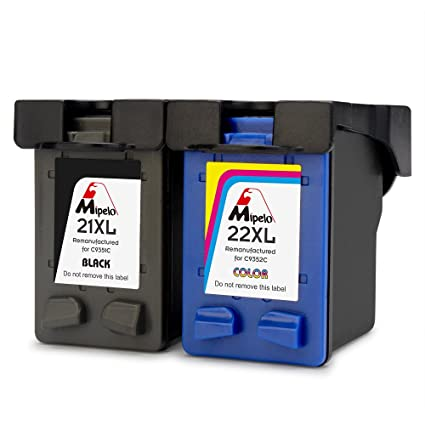 Mipelo Remanufacturado HP 21XL 22XL 21 22 Cartuchos de tinta (1 Negro, 1 Tricolor) Compatible con HP Deskjet F4180 F2180 F2280 F2290 F380 F335 F390, ...