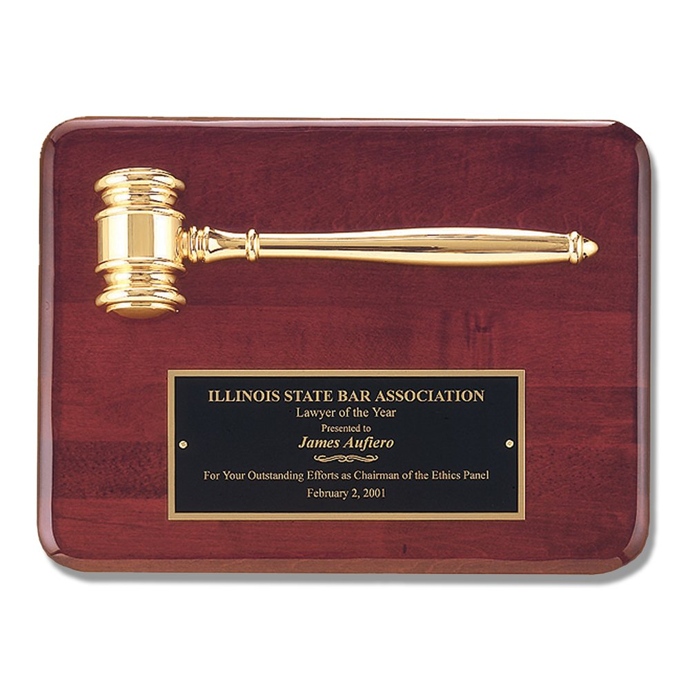 Gavel Plaque Judge Court Attorney Law Lawyer Gift Rosewood Gloss Award - 9'' x 12''