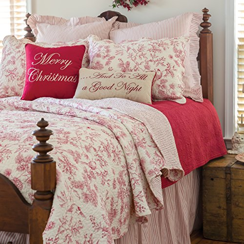 (C&F Home Evergreen Toile Red Christmas Cotton 2 Piece Twin Quilt Set Twin Quilt Set Red)