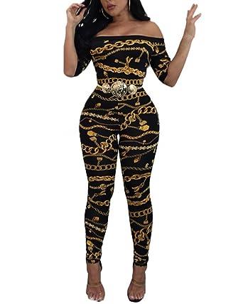 Femme Epaule Nue Combinaisons Pantalon Casual Impression Bodysuit Jumpsuit  Plage Noir S 3beefa317f82