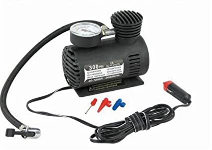 Rumfo 300/250PSI Miniature Air Pump Car Tire Inflator With Pressure Gauge: Portable 12v