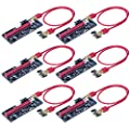 Rebbic VER009S 6-Pack PCI-E 16x to 1x Powered Riser Adapter Card w/4PIN, SATA and Graphic Card 6PIN Interface - 60cm USB 3.0 Extension Cable(GPU Riser Adapter Ethereum Mining ETH)