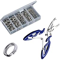 Greatfishing 200PCS High Strength Heavy Stainless Steel Split Ring Lure Tackle Connector with Fishing Pliers Fishing…
