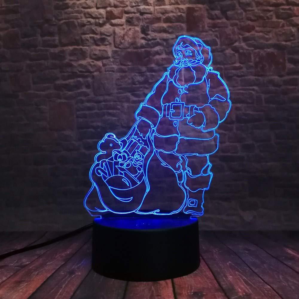 Colores Led Regalos Papá Con Luces 3d 7 Lámpara Noel Navidad Rc35qS4LAj