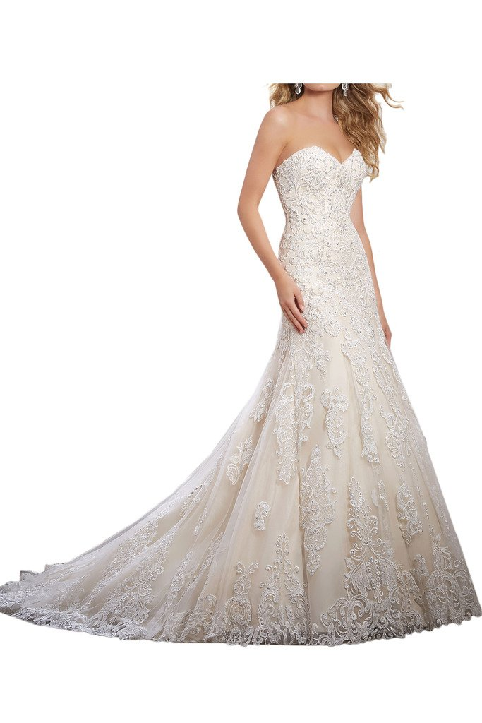 Sunvary 2017 Wedding Dress For Bride Strapless Fit&Flare Applique Beadings Size 16- Ivory