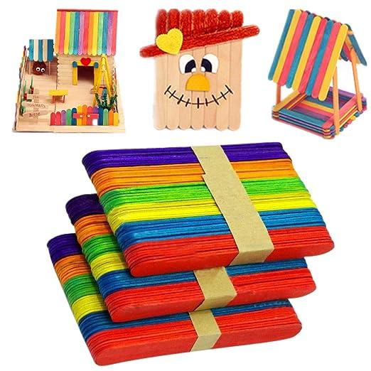 Toruiwa 50x Eisstäbchen Holzstäbchen Craft Sticks Zum